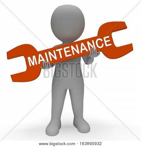 Maintenance Spanner Shows Repair Fixing 3D Rendering