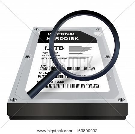 internal harddisk with a magnifying glass scanning