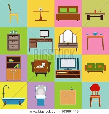 Furniture icon set flat design vector illustration