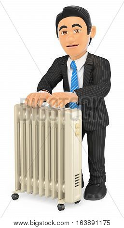 3d business people illustration. Businessman warming himself with an portable radiator. Isolated white background.