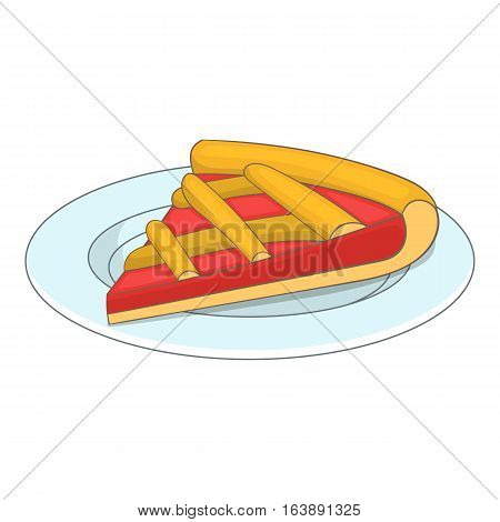 Piece of cake on a plate icon. Cartoon illustration of piece of cake on a plate vector icon for web