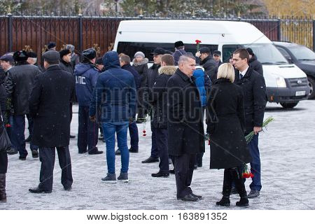 Kazan, Russia, 17 november 2016, formal event- meeting relatives crashed in the plane crash in international Airport at 2013, telephoto