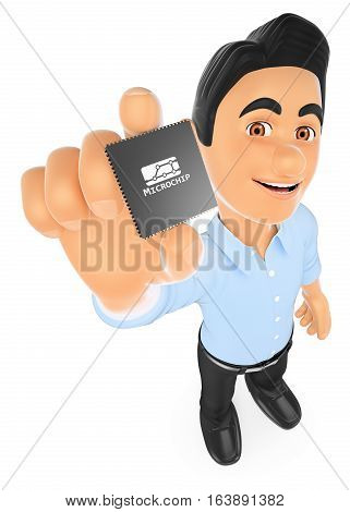3d working people illustration. Information technology technician showing a microprocessor. Isolated white background.