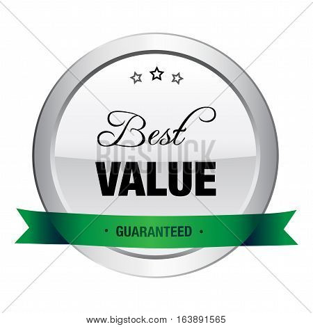 Best value seal or icon. Silver seal or button with stars and green color.