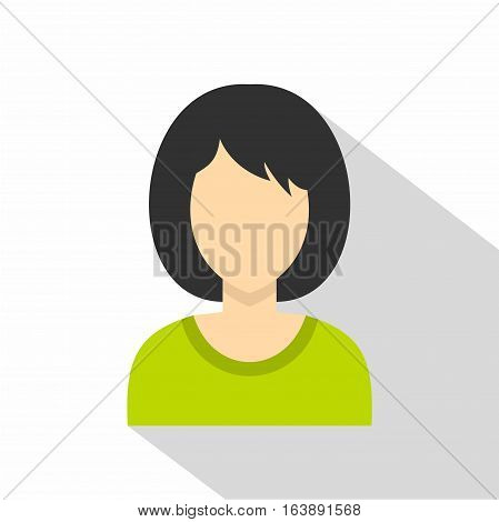 Brunette woman icon. Flat illustration of brunette woman vector icon for web isolated on white background