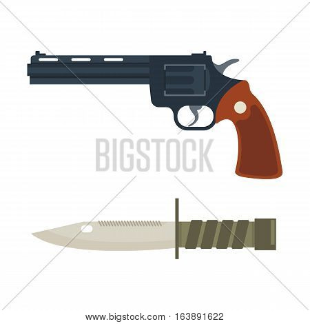 Weapon vector handgun icon. Pistol submachine military safety sniper security revolver icon. Violence firearm knife police ammunition illustration isolated.