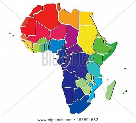Colorful political map of Africa.Detailed illustration of states.