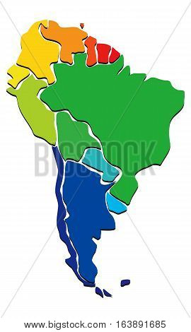 Colorful vector political map of South America