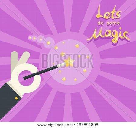 Magician hand glove holding magic wand show poster template flat design vector illustration