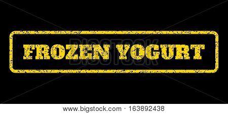 Yellow rubber seal stamp with Frozen Yogurt text. Vector tag inside rounded rectangular banner. Grunge design and scratched texture for watermark labels. Horisontal emblem on a blue background.