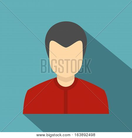 Young man in a red shirt icon. Flat illustration of young man in a red shirt vector icon for web isolated on baby blue background
