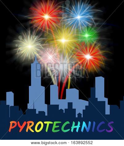 Pyrotechnics Over City Meaning Festive Party Fireworks