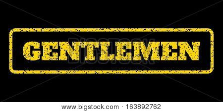 Yellow rubber seal stamp with Gentlemen text. Vector tag inside rounded rectangular frame. Grunge design and unclean texture for watermark labels. Horisontal sticker on a blue background.