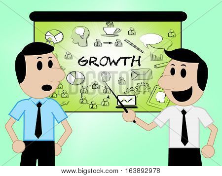 Growth Icons Meaning Increase Rise 3D Illustration