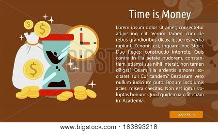 Time is Money Conceptual Banner | Great flat illustration concept icon and use for business, marketing, working, idea, event and much more.