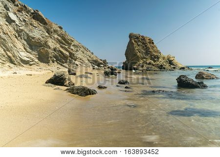Lolantonis rocky beautiful beach at Paros island in Greece.