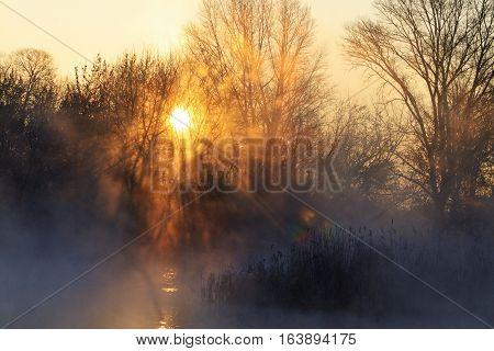 sunrise on hunting lake, dawn, hunting wilderness area