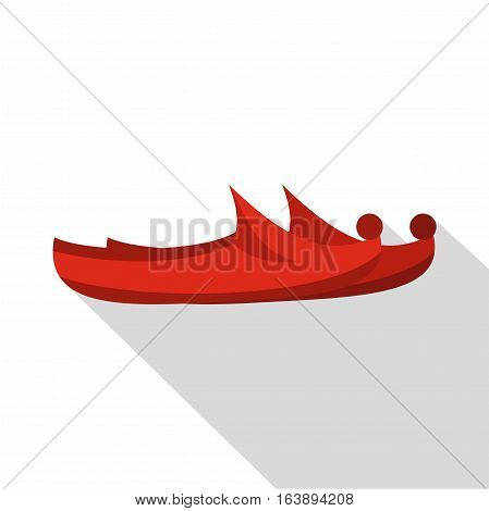 Red turkish shoes icon. Flat illustration of red turkish shoes vector icon for web isolated on white background