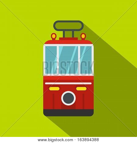 Traditional turkish public tram icon. Flat illustration of traditional turkish public tram vector icon for web isolated on lime background