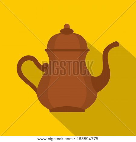 Oriental turkish kettle for tea icon. Flat illustration of oriental turkish kettle for tea vector icon for web isolated on yellow background
