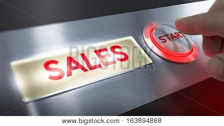 Finger pressing a start button to activate sales sign. Composite between an image and a 3D background