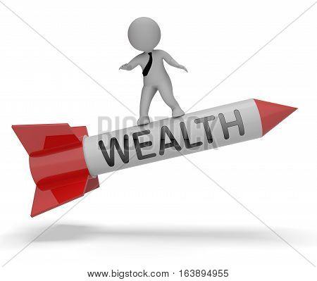Wealth Rocket Showing Rich Abundance 3D Rendering