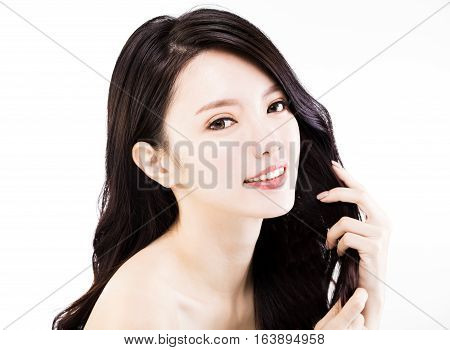 young Woman touching her Healthy black Hair