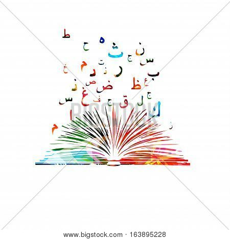 Arabic Islamic calligraphy symbols with book illustration. Colorful Arabic alphabet text design.