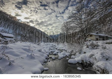 Ribaritsa Village And Beli Vit River, Winter Landscape, Bulgaria