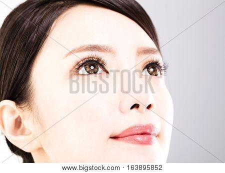 Closeup shot of young beautiful woman eyes