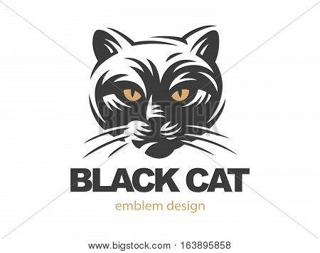 Black cat face logo - vector illustration, emblem design on white background