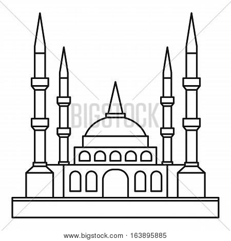 Muslim mosque icon. Outline illustration of muslim mosque vector icon for web