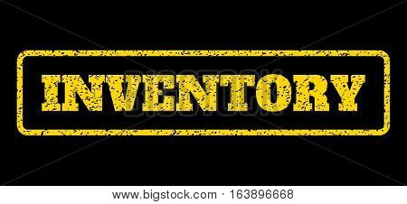 Yellow rubber seal stamp with Inventory text. Vector message inside rounded rectangular shape. Grunge design and scratched texture for watermark labels. Horisontal sign on a blue background.