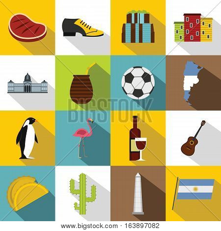 Argentina travel items icons set. Flat illustration of 16 Argentina travel items vector icons for web