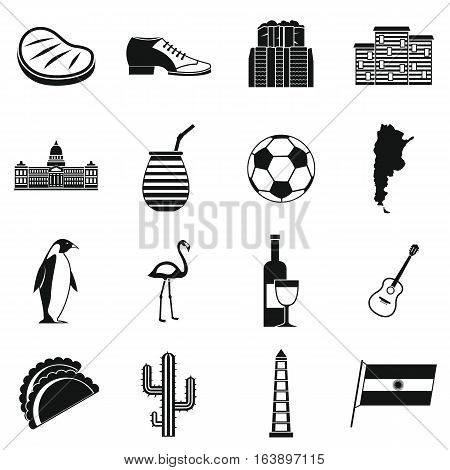 Argentina travel items icons set. Simple illustration of 16 Argentina travel items vector icons for web