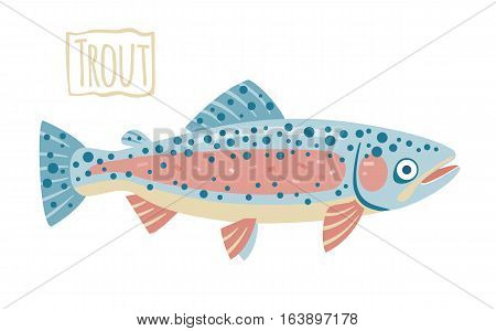 Pink and blue trout, vector cartoon illustration