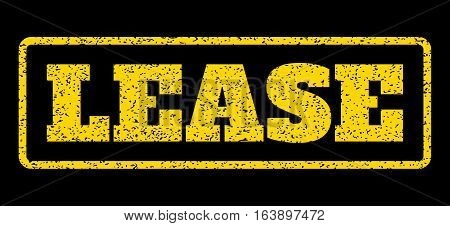 Yellow rubber seal stamp with Lease text. Vector tag inside rounded rectangular shape. Grunge design and unclean texture for watermark labels. Horisontal sticker on a blue background.
