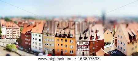 Panoramic Cityscape Of Nuremberg, Bavaria,  Germany. Miniature Tilt Shift Lens Effect.