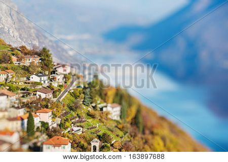 Panoramic view on Monte Bre Lugano Switzerland. Miniature tilt shift lens effect.