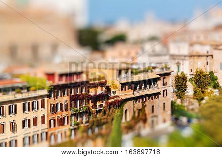 View of Rome city centre from the Palatine Hill Italy. Miniature tilt shift lens effect.