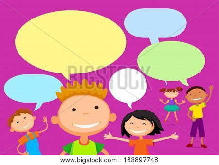 Vector brochure backgrounds with cartoon children. balloon template design. Courtesy lesson for children rights to the banner advertisement for children illustration