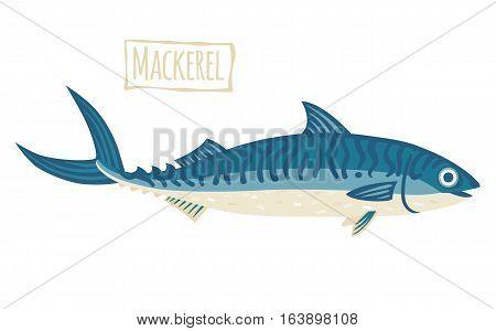 Blue Mackerel with stripes, vector cartoon illustration