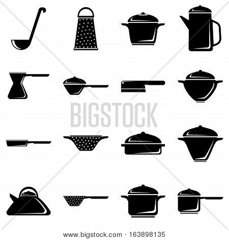 Tableware icons set. Simple illustration of 16 tableware vector icons for web
