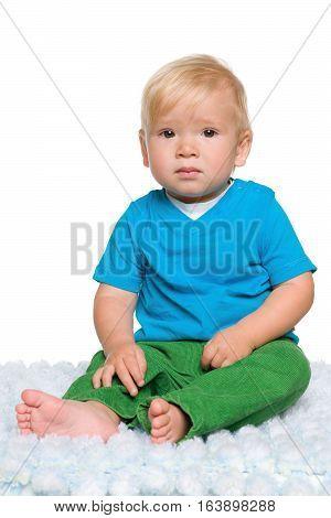 Baby Boy Sits
