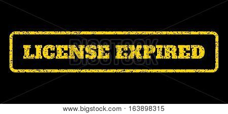 Yellow rubber seal stamp with License Expired text. Vector caption inside rounded rectangular shape. Grunge design and dust texture for watermark labels. Horisontal emblem on a blue background.