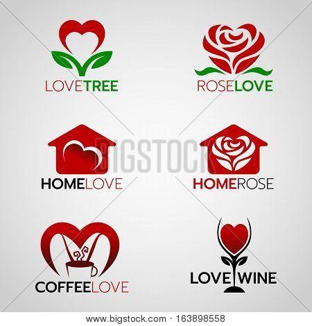 Heart Rose Logo Home Vector Photo Free Trial Bigstock