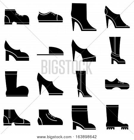 Footwear icons set. Simple illustration of 16 footwear vector icons for web