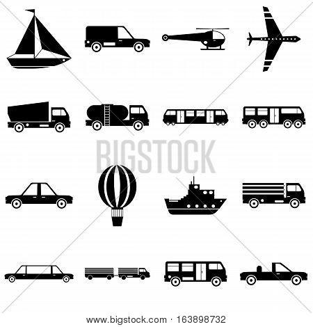 Transportation items icons set. Simple illustration of 16 transportation items vector icons for web
