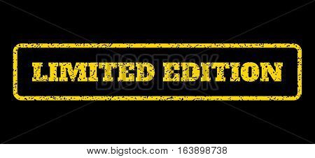 Yellow rubber seal stamp with Limited Edition text. Vector caption inside rounded rectangular frame. Grunge design and dust texture for watermark labels. Horisontal sticker on a blue background.