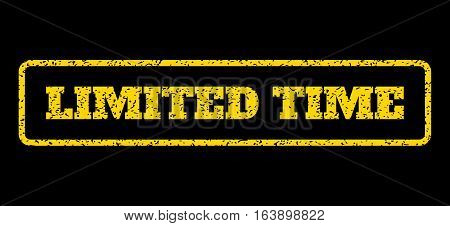 Yellow rubber seal stamp with Limited Time text. Vector tag inside rounded rectangular banner. Grunge design and dust texture for watermark labels. Horisontal sticker on a blue background.